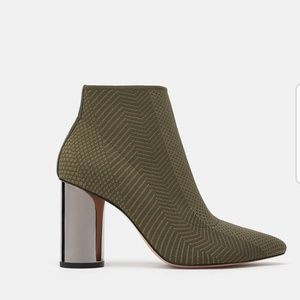 Zara Fabric Ankle Boots With Metallic